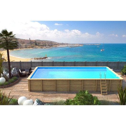 piscine hors sol bois odyssea x l 5 5 x h m leroy merlin. Black Bedroom Furniture Sets. Home Design Ideas