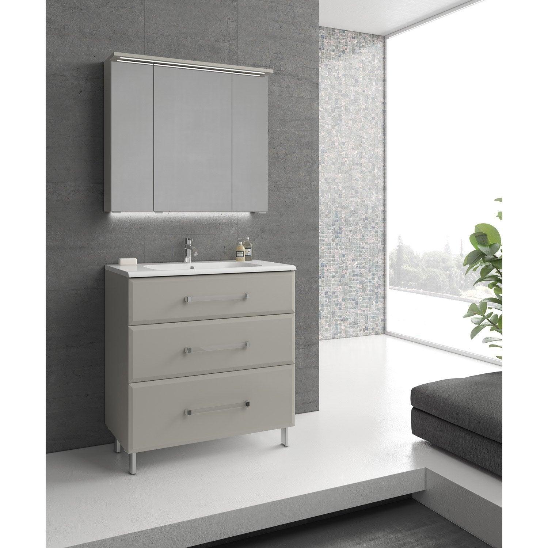 Meuble De Salle De Bains De à Beige Opale Leroy Merlin - Magasin salle de bain le mans
