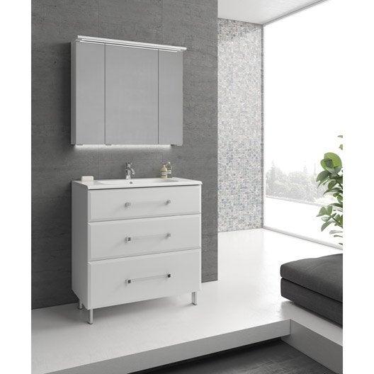 meuble de salle de bains de 80 99 blanc opale leroy merlin. Black Bedroom Furniture Sets. Home Design Ideas