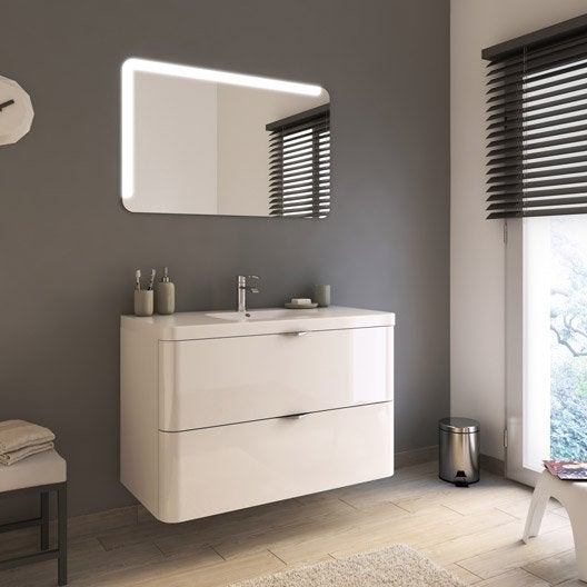 meuble de salle de bains de 100 à 119, blanc, neo shine   leroy merlin