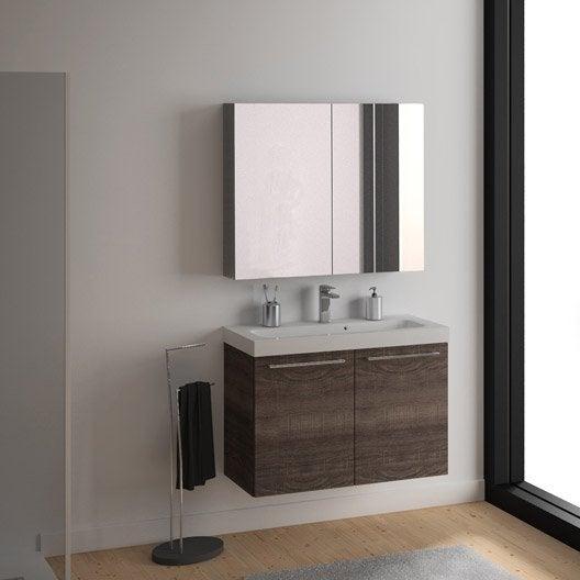 meuble de salle de bains de 100 à 119, marron, remix | leroy merlin