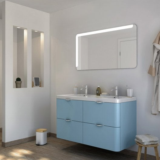 Meuble de salle de bains plus de 120 bleu neo shine - Meuble de salle de bain bleu ...