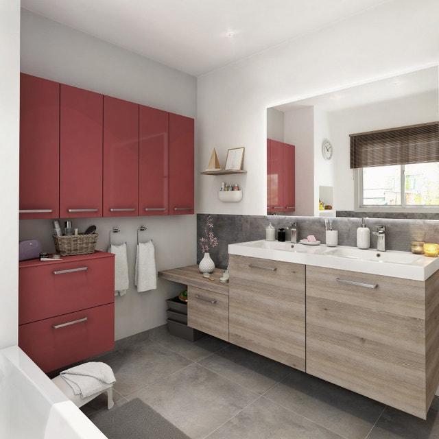 Une salle de bains rouge et bois, pratique et moderne   Leroy Merlin