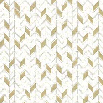 Papier Peint Géométrique Blanc Et Or Intissé Shine