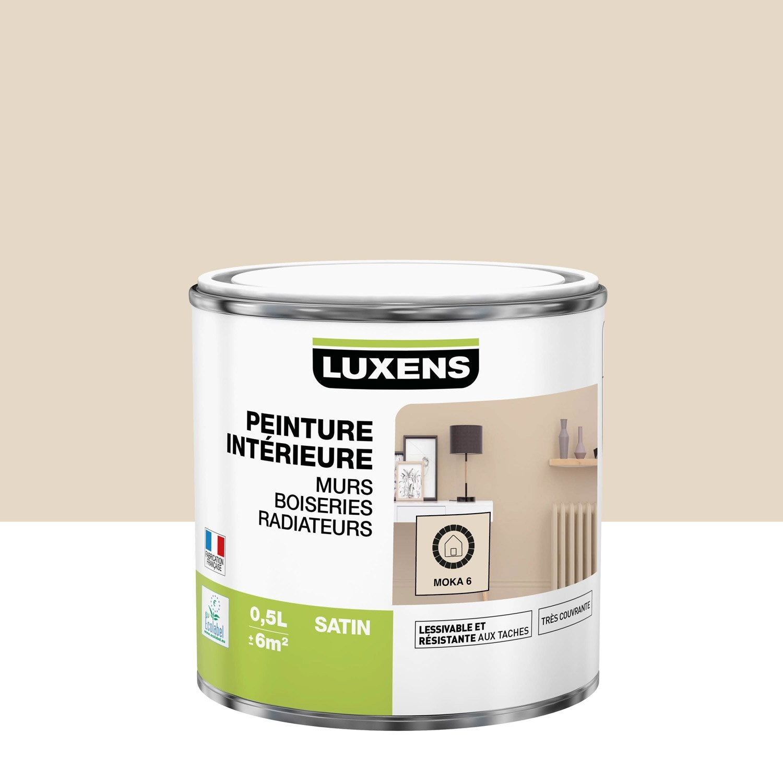 Peinture mur, boiserie, radiateur Multisupports LUXENS, moka 6, 0.5 l, satin