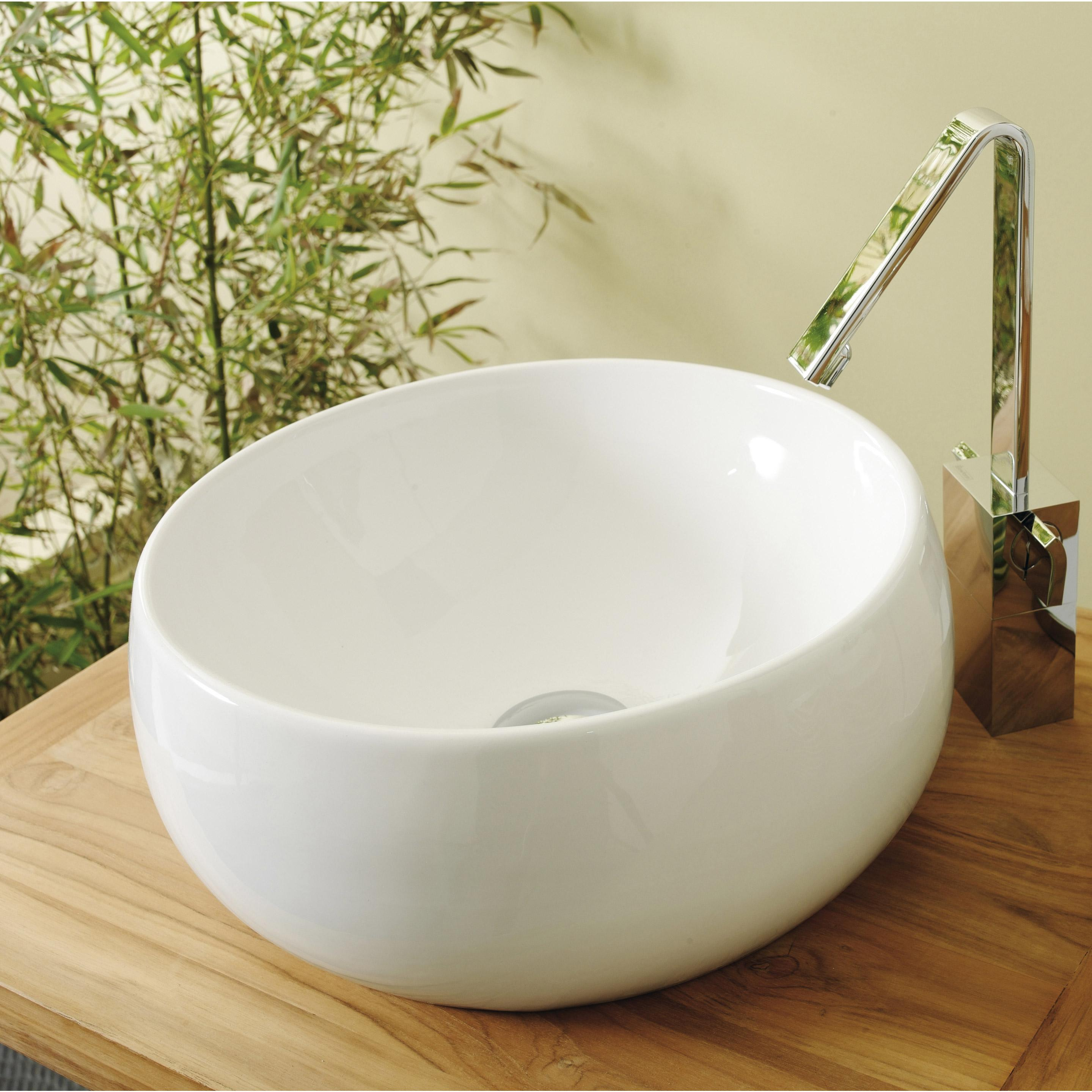 Vasque à poser céramique Diam.38 cm blanc Lune