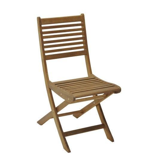 Chaise de jardin en bois saturne aspect teck leroy merlin - Chaises de jardin en teck ...