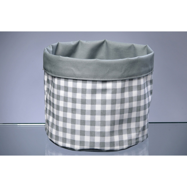panier en textile gris zingué 3, vichy | leroy merlin