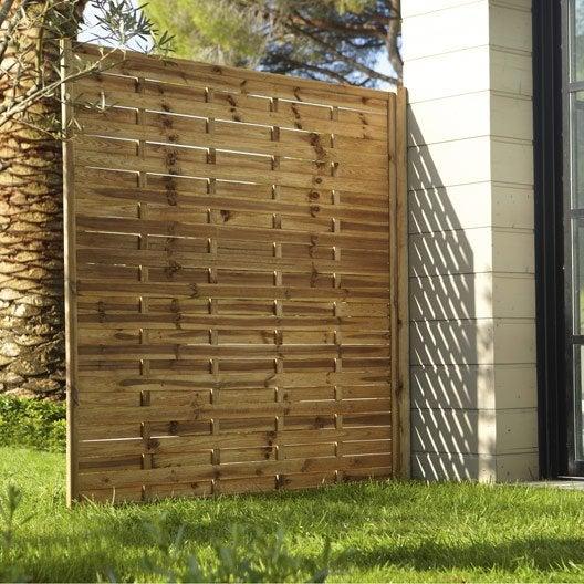 panneau en bois droit occultant l 180 x h 180 cm naturel. Black Bedroom Furniture Sets. Home Design Ideas