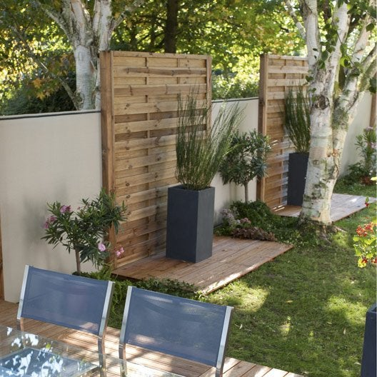 panneau en bois droit occultant l 180 x h 200 cm marron leroy merlin. Black Bedroom Furniture Sets. Home Design Ideas