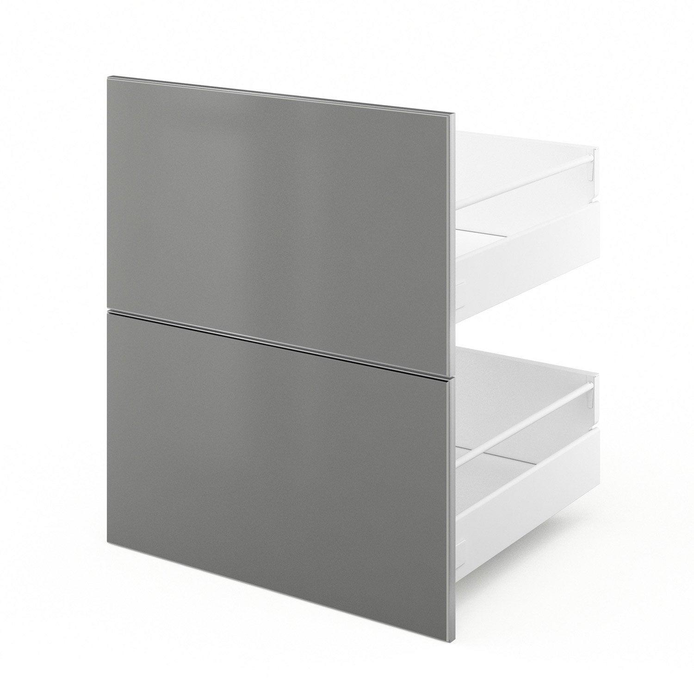 2 tiroirs de cuisine gris Frost, L.60 x H.70 x P.55 cm