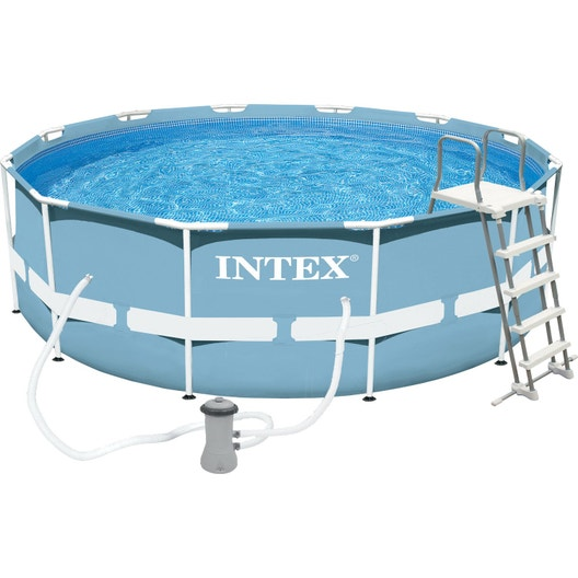 Piscine hors sol tubulaire prism frame intex diam l for Piscine intex leroy merlin