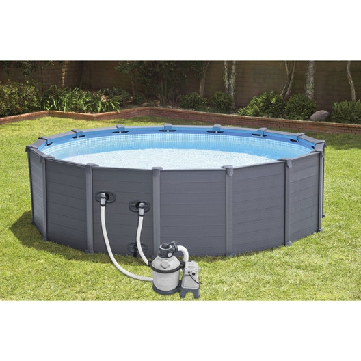Piscine hors sol tubulaire graphite intex diam x h 1 - Piscine rectangulaire hors sol intex ...