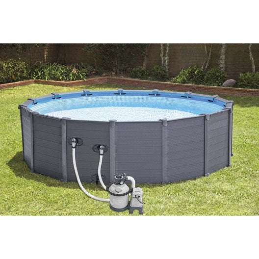 Piscine hors sol autoportante tubulaire graphite intex for Cout piscine hors sol