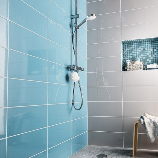 Fa ence mur bleu atoll n 3 loft brillant x cm for Carrelage sdb bleu