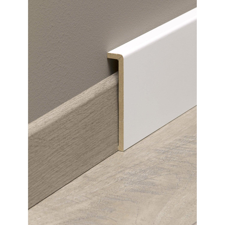 Comment Fabriquer Des Plinthes En Bois surplinthe de rénovation médium (mdf) mélaminé blanc, 19 x 110 mm, l.2.2 m