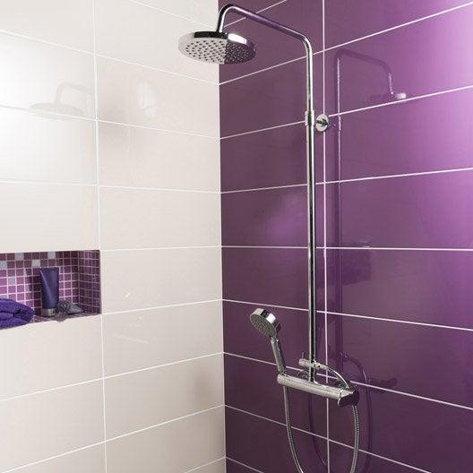 Fa ence mur violet tulipe n 3 loft brillant x for Salle de bain aubergine et gris