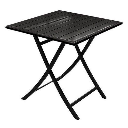 table de jardin miami carr e noir 2 personnes leroy merlin. Black Bedroom Furniture Sets. Home Design Ideas