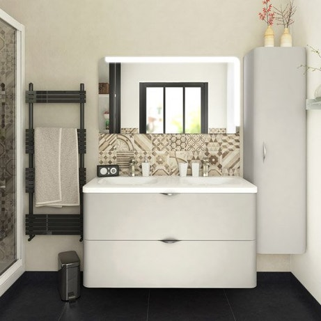 Meuble salle de bain meuble sous vasque colonne miroir - Colonne de salle de bain leroy merlin ...