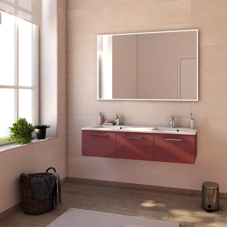 Meuble de salle de bains plus de 120 rouge neo line leroy merlin - Meuble de salle de bain rouge ...