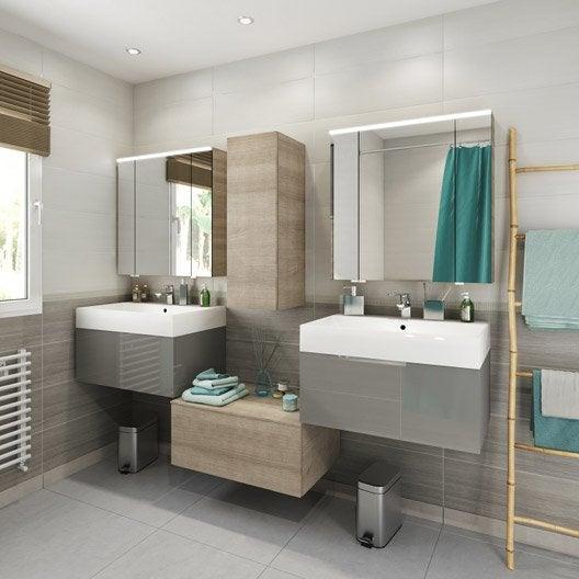 Meuble de salle de bains de 60 79 gris argent neo - Meubles salle de bains leroy merlin ...