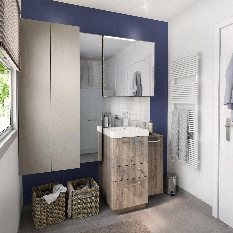 Meuble de salle de bains moins de 60 marron neo line - Produit salle de bain ...