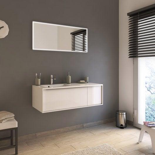 Meuble de salle de bains de 100 119 blanc beige naturels neo frame leroy merlin for Hauteur meuble salle de bain leroy merlin