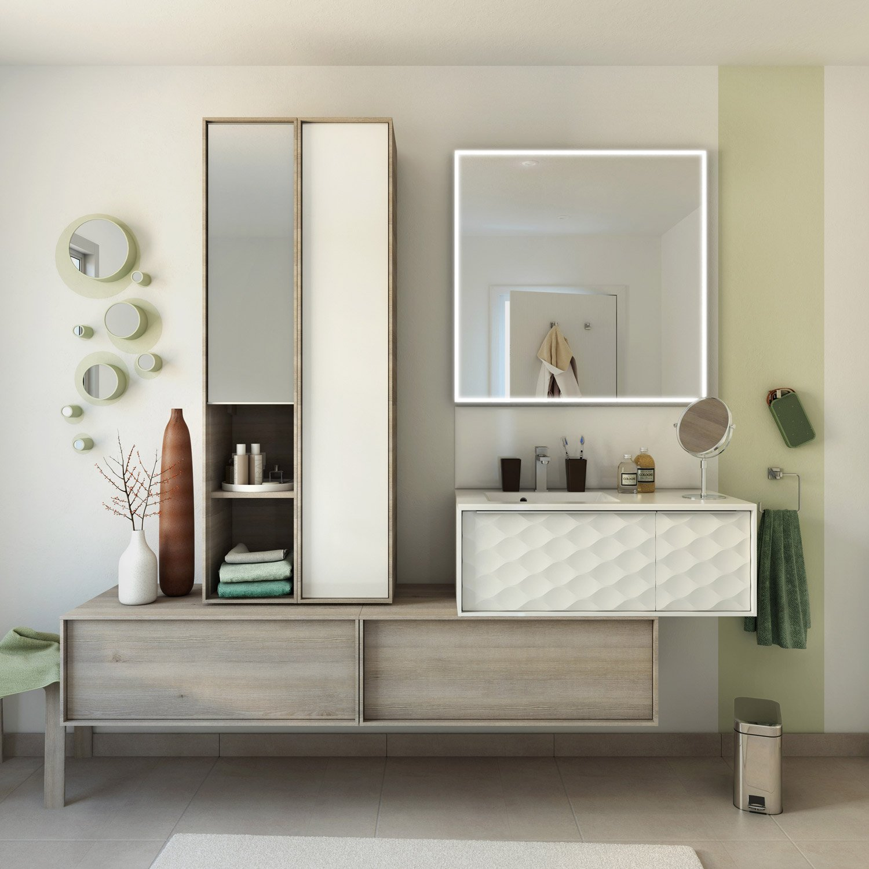 meuble de salle de bains de 80 99 blanc neo frame leroy merlin. Black Bedroom Furniture Sets. Home Design Ideas