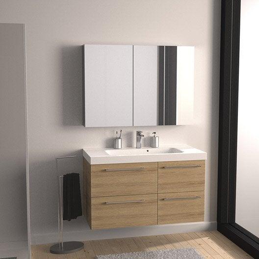 Meuble de salle de bains de 100 119 marron remix leroy merlin - Meuble de salle de bain remix ...