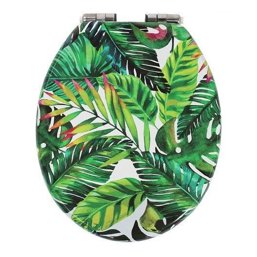 Abattant frein de chute d clipsable multicolore bois compress jungle leroy - Abattant wc frein de chute leroy merlin ...