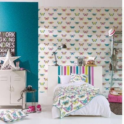 Papier Peint Papillons Multicolore Fonce Blanc Intisse Street Art