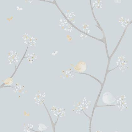 Papier Peint Oiseau Bleu Beige Intisse Little World Leroy Merlin