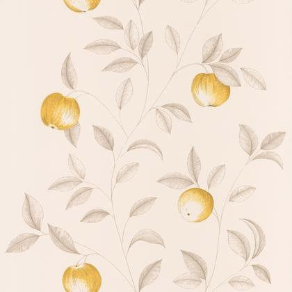 Papier Peint Guirlande Pommes Jaune Intisse Bon Appetit Leroy Merlin