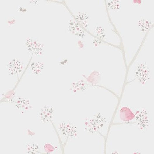 papier peint oiseau rose beige intiss little world leroy merlin. Black Bedroom Furniture Sets. Home Design Ideas