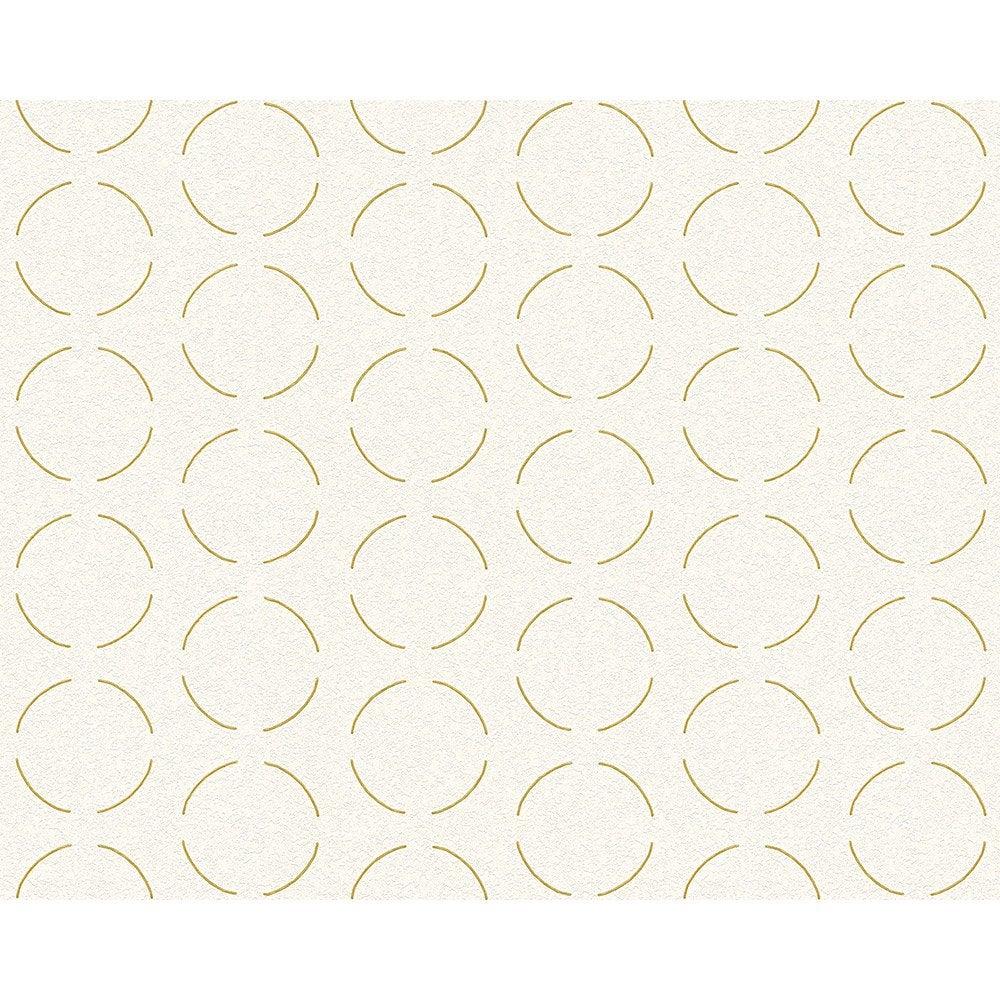 Papier Peint Geometrique Blanc Or Intisse Ap 2000 Leroy Merlin