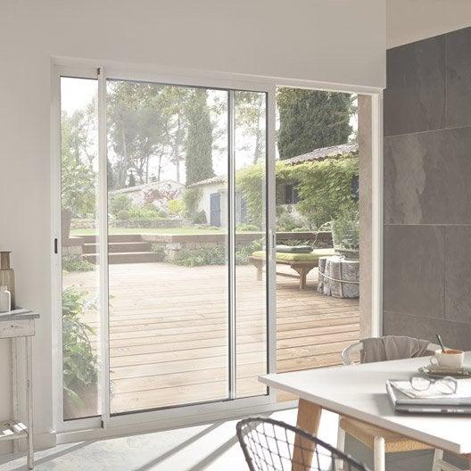 Baie vitr e aluminium blanc brico primo x cm for Porte fenetre avec serrure exterieure