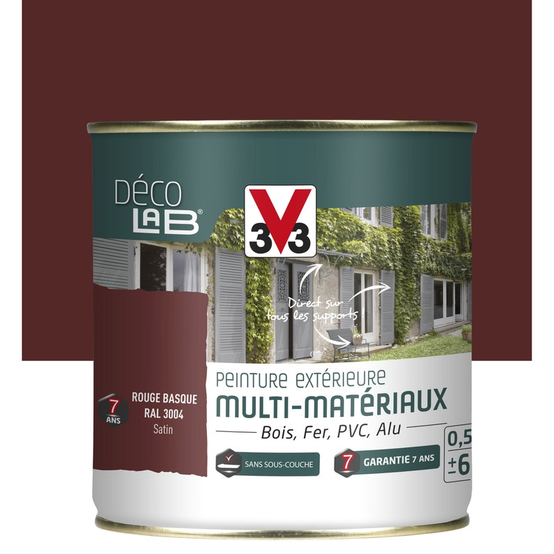 Peinture Multimatériau Extérieur V33 Rouge Basque 05 L Leroy Merlin