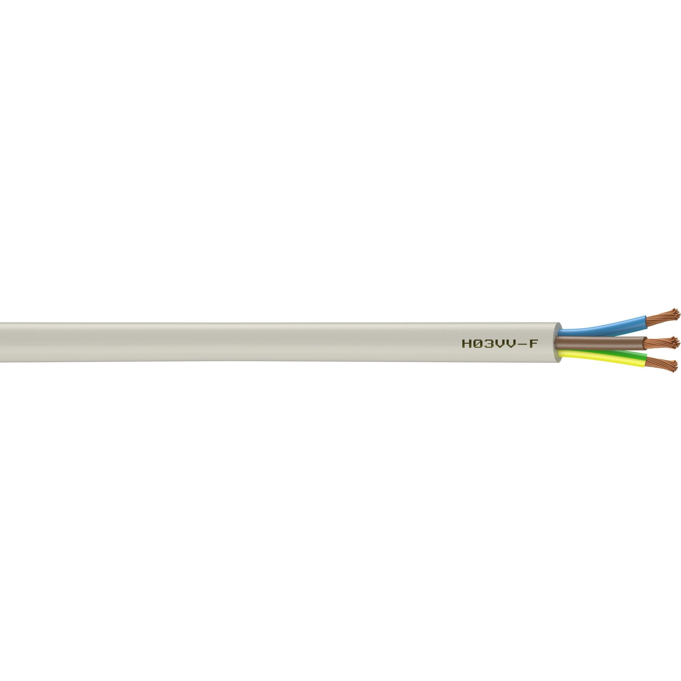 Combien De Metre De Fils Electrique Pour Une Maison câble électrique 3 g 0.75 mm² h03vvf l.5 m, noir