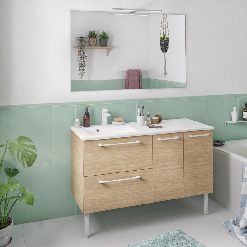 Meuble Simple Vasque L120 X H58 X P46 Cm Effet Chêne Naturel Remix