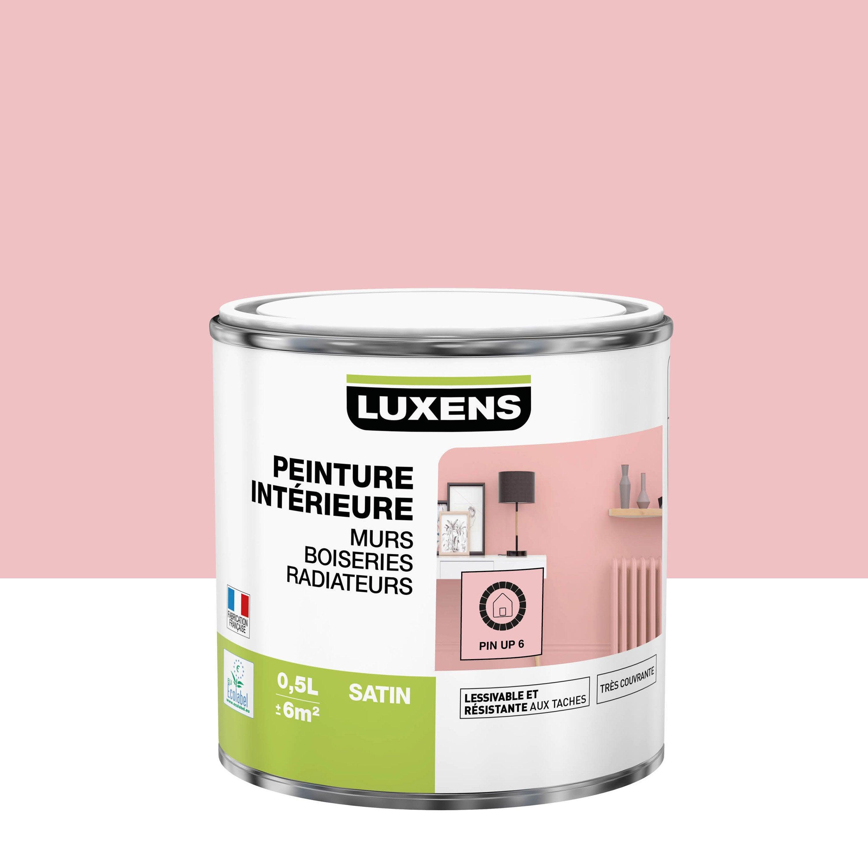 Peinture, mur, boiserie, radiateur, Multisupports LUXENS, pin up 6, satin, 0.5 l