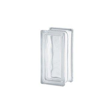 1/2 brique de verre, transparent ondulé brillant