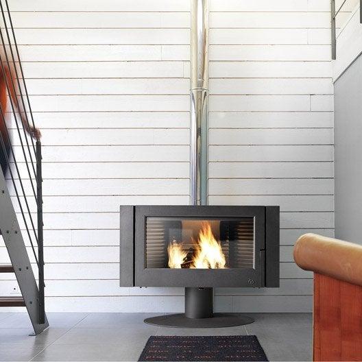 po le bois invicta antaya anthracite 6114 44 12kw leroy merlin. Black Bedroom Furniture Sets. Home Design Ideas