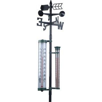 Girouette noire avec thermomètre et pluviomètre INOVALLEY