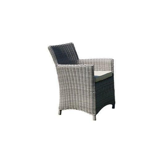 fauteuil de jardin en résine tressée elégance gris | leroy merlin