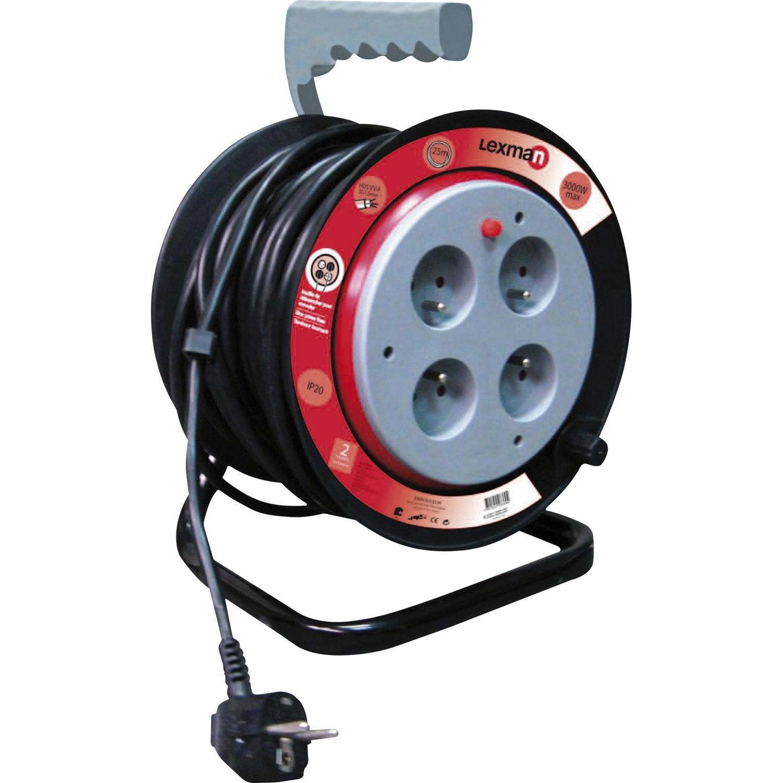 devidoir bobine fil electrique Enrouleur de câble électrique bricolage L.50 m LEXMAN ...