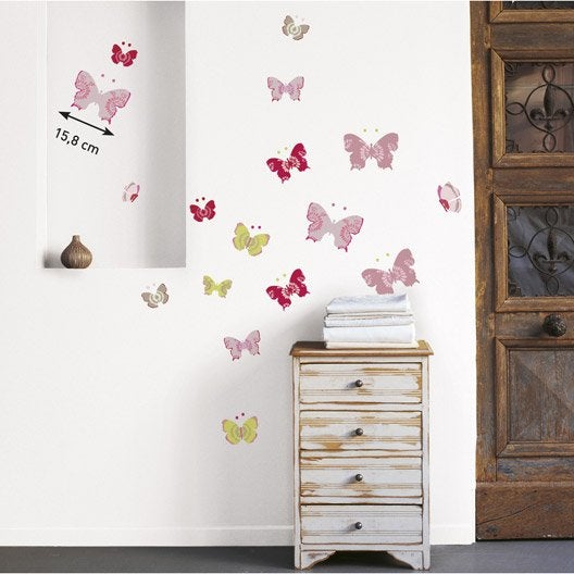 Cool sticker papillons color cm x cm with stickers for Stickers carrelage salle de bain leroy merlin
