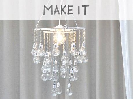 diy recycler des vieilles ampoules et cr er un lustre pampilles leroy merlin. Black Bedroom Furniture Sets. Home Design Ideas