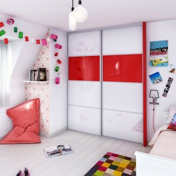 Porte de placard coulissante à composer SPACEO glossy blanc/glossy rouge