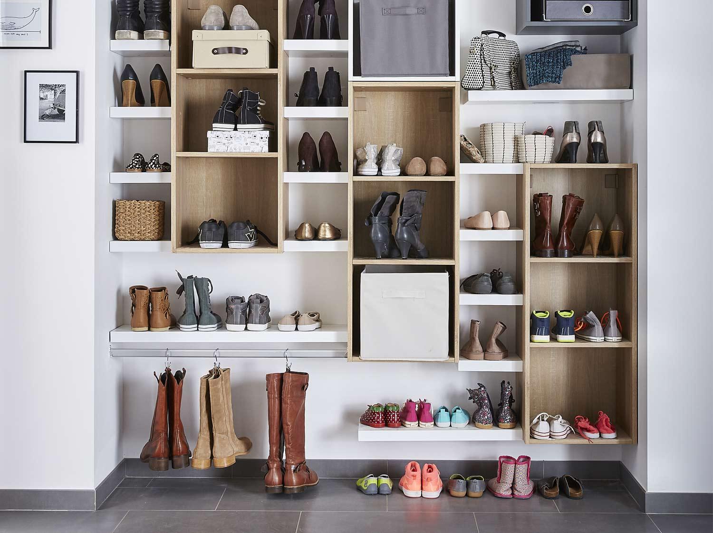 Meuble Chaussure Pour Placard réaliser un dressing pour les chaussures | leroy merlin