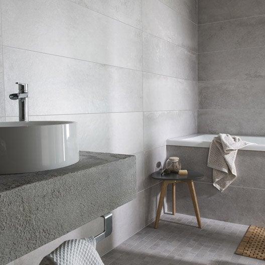 Carrelage sol et mur gris cendr harlem x cm for Salle de bain avec carrelage gris au sol